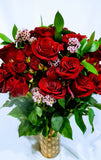 Dozen Premium Long Stem Large Ecuadorian Red Roses in a vase