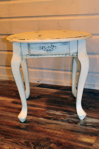 French Shabby Chic End Table with Drawer
