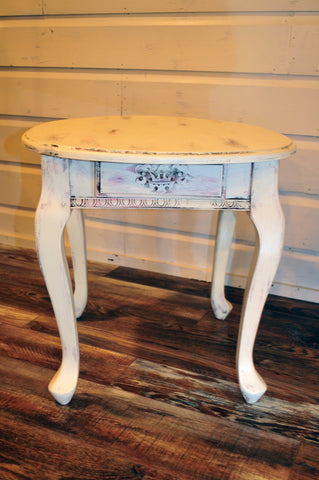 French Shabby Chic End Table with Drawer with pink undertone