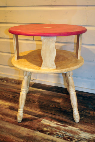 Shabby Chic Upcycled Round Side Table