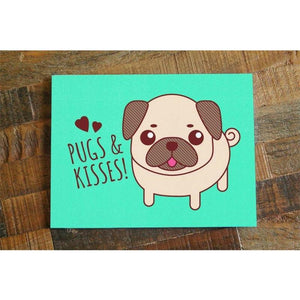 Pugs & Kisses – Cute Pug Dog Card - Cute Dose