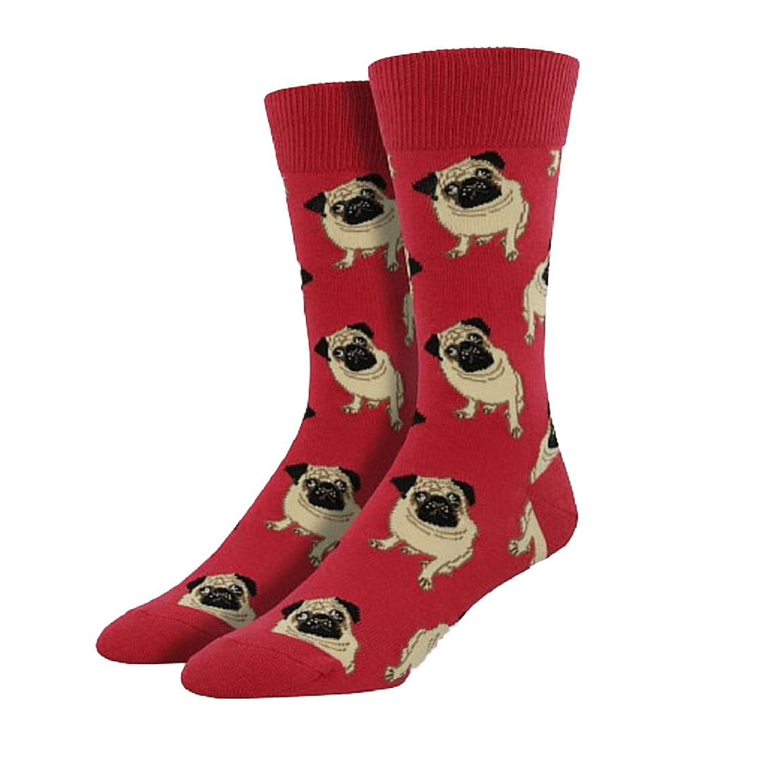 Red Pug Socks - Men's - Cute Dose