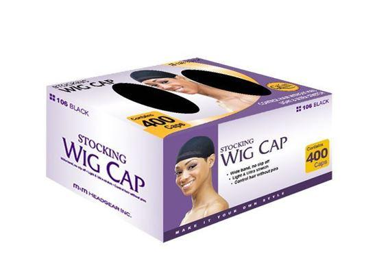 #106 400 Count Bulk Stocking Wig Cap / Black (BOX)