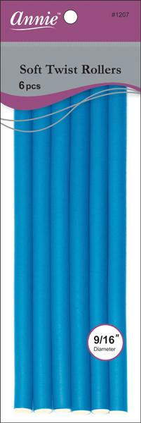 "#1207 Annie Blue Soft Twist Rollers 10"" Long  (6Pk)"
