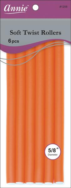 "#1208 Annie Orange Soft Twist Rollers 10"" (6Pk)"