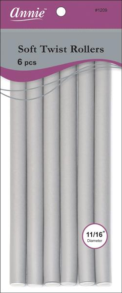 "#1209 Annie Gray Soft Twist Rollers 10"" Long (6Pk)"