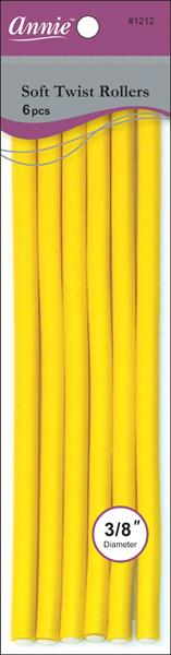 "#1212 Annie Yellow Soft Twist Rollers 10"" Long (6Pk)"