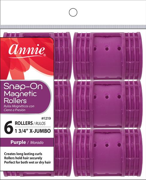 #1219 Annie X-Jumbo Purple Snap-On Magnetic Rollers (6Pk)