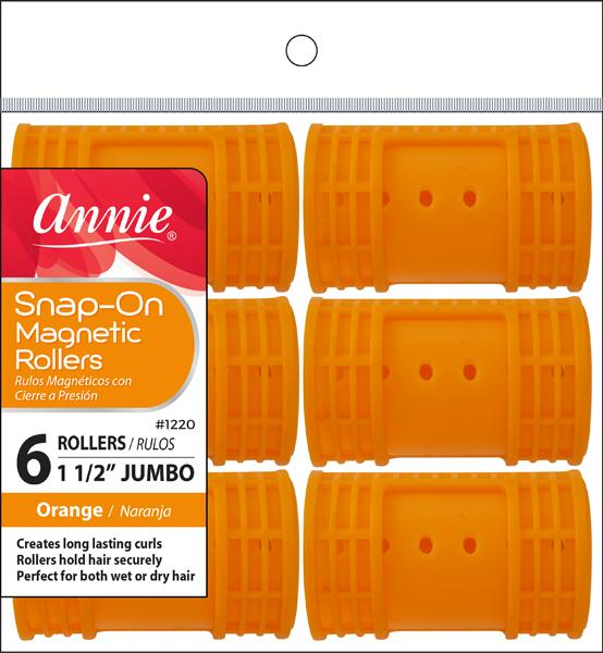#1220 Annie Jumbo Orange Snap-On Magnetic Rollers (6Pk)