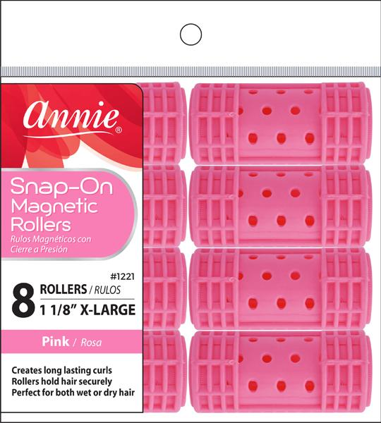 #1221 Annie X-Large Pink Snap-On Magnetic Rollers (6Pk)