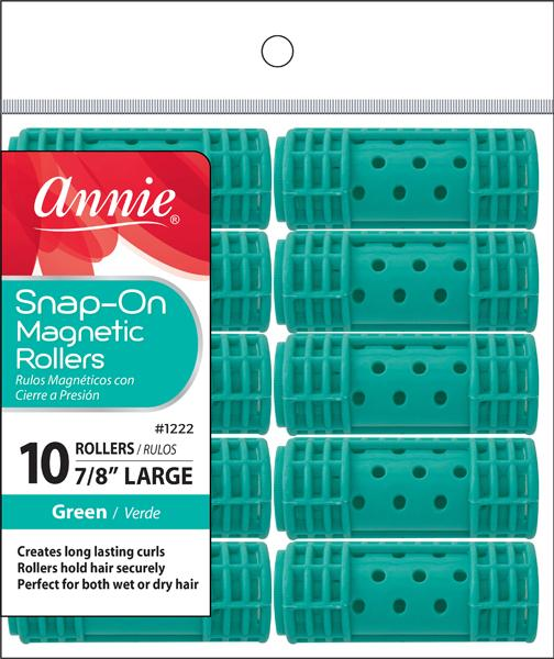 #1222 Annie Large Green Snap-On Magnetic Rollers (6Pk)