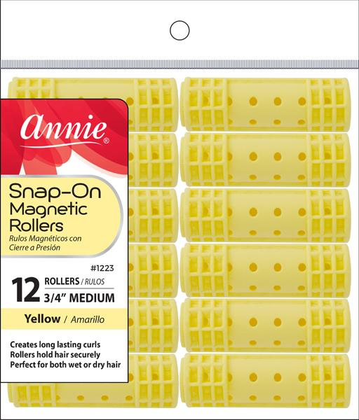 #1223 Annie Medium Yellow Snap-On Magnetic Rollers (6Pk)