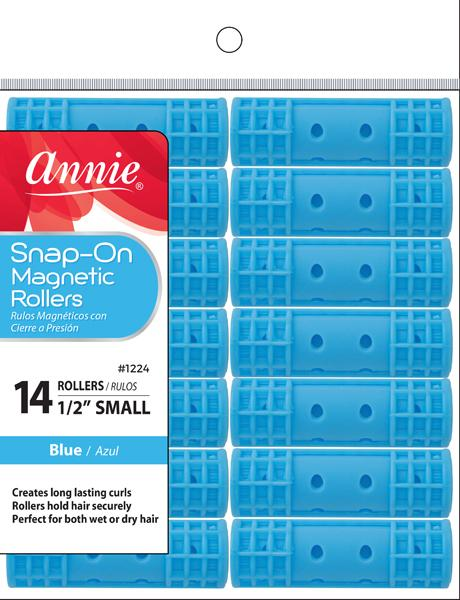 #1224 Annie Small Blue Snap-On Magnetic Rollers (6Pk)