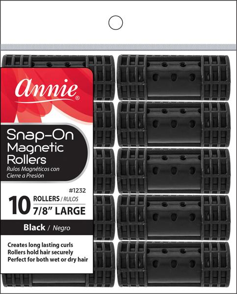 #1232 Annie Large Black Snap-On Magnetic Rollers (6Pk)