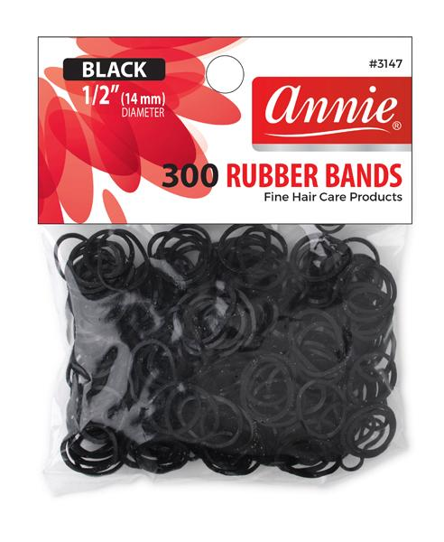 #3147 Annie Rubber Bands Black Medium 300Pc (12Pk)