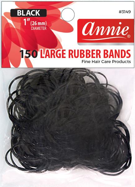 #3149 Annie Rubber Bands Black Large 150Pc (12Pk)