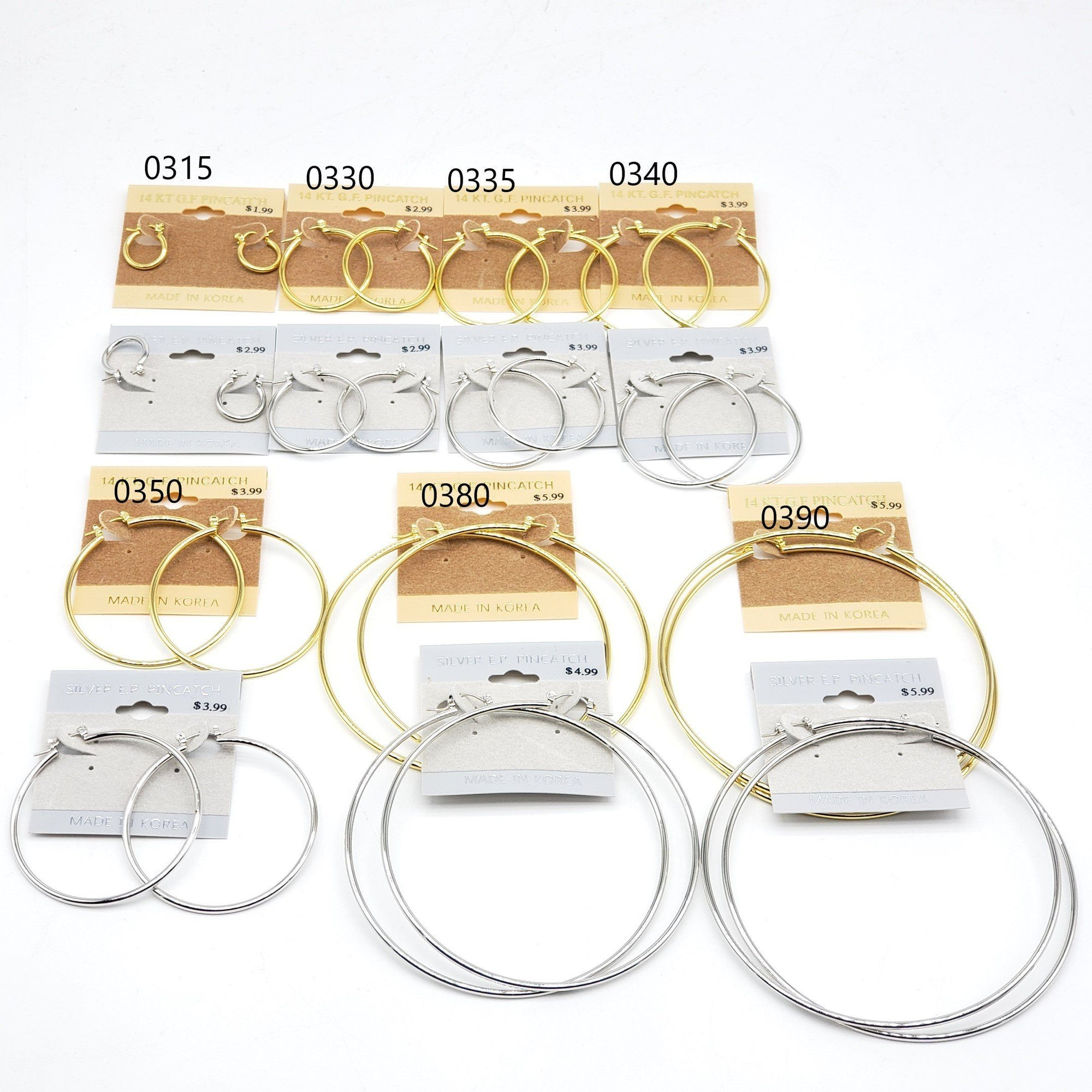 Gold/Silver Hoop Earrings #0315-0330-0335-0340-0350-0380-0390 (PC)