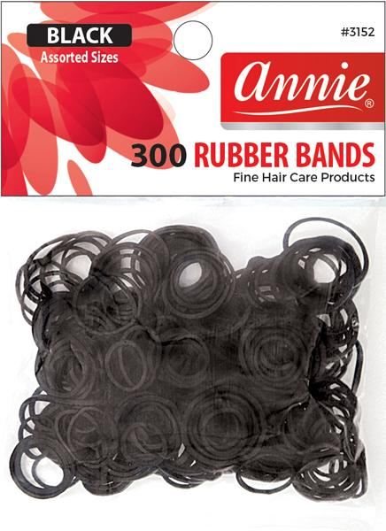 #3152 Annie Rubber Bands Black Assort 300Pc (12Pk)