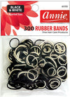 #3155 Annie Rubber Bands Black/White Assort 300Pc (12Pk)