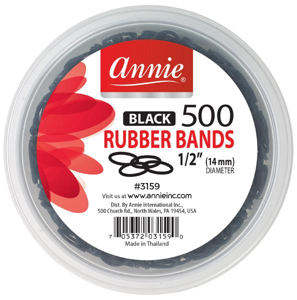 #3159 Annie Rubber Bands Black 500Pc (6PK)