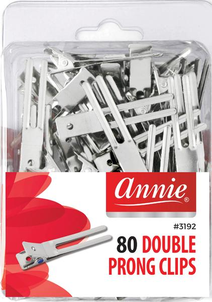#3192/3082 Annie Double Prong Clips 80Pc (6Pk)
