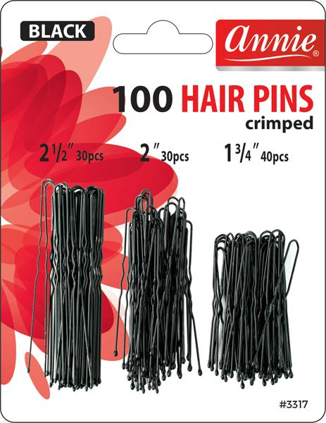 #3317 Annie Hair Pins Black 100Pc (12Pk)