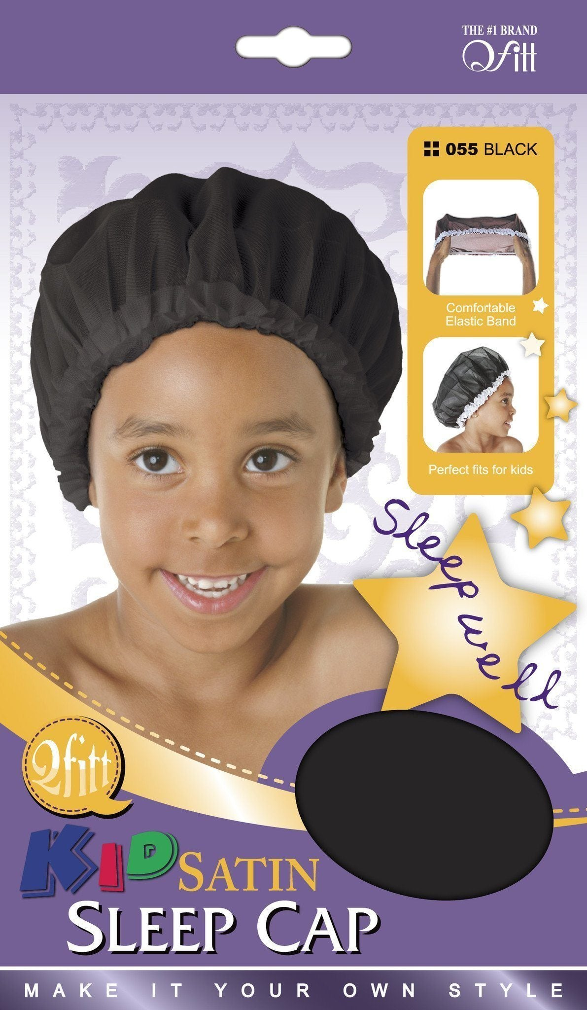 #55 Kid Satin Sleep Cap / Black (Dz)