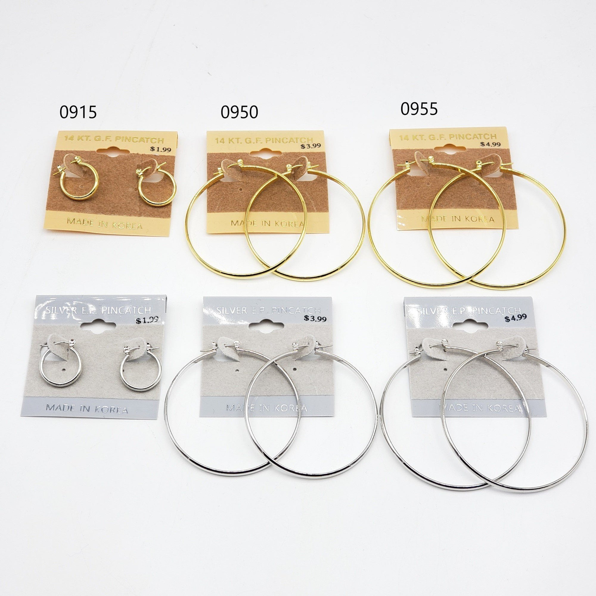 Gold/Silver Hoop Earrings #0915-0950-0955 (PC)