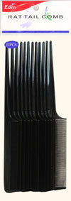 #10112 Eden Black Rat Tail Comb (12Pc)