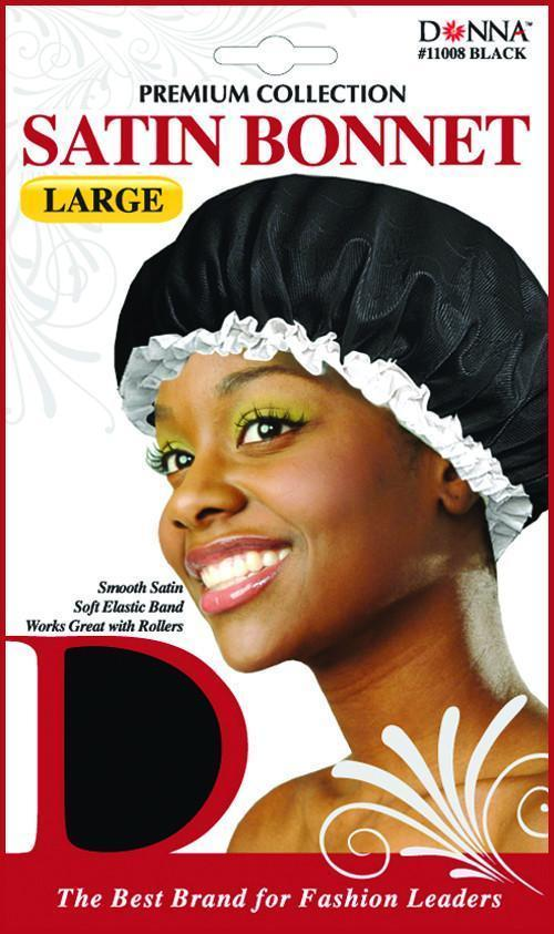 #11008 Large Satin Bonnet / Black (Dz)