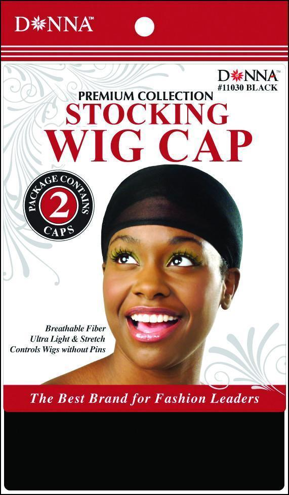 #11030 2Cap Stocking Wig Caps / Black (Dz)