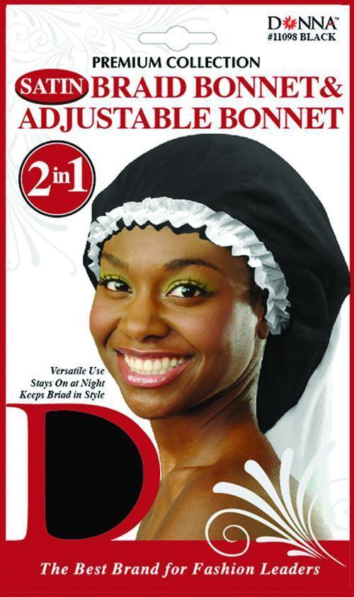 #11098 Satin Braid Bonnet & Adj Bonnet 2 In 1 / Black (Dz)