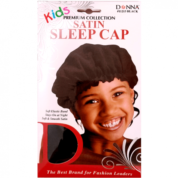 Donna Kids Satin Sleep Cap Black #11213 (12PC)