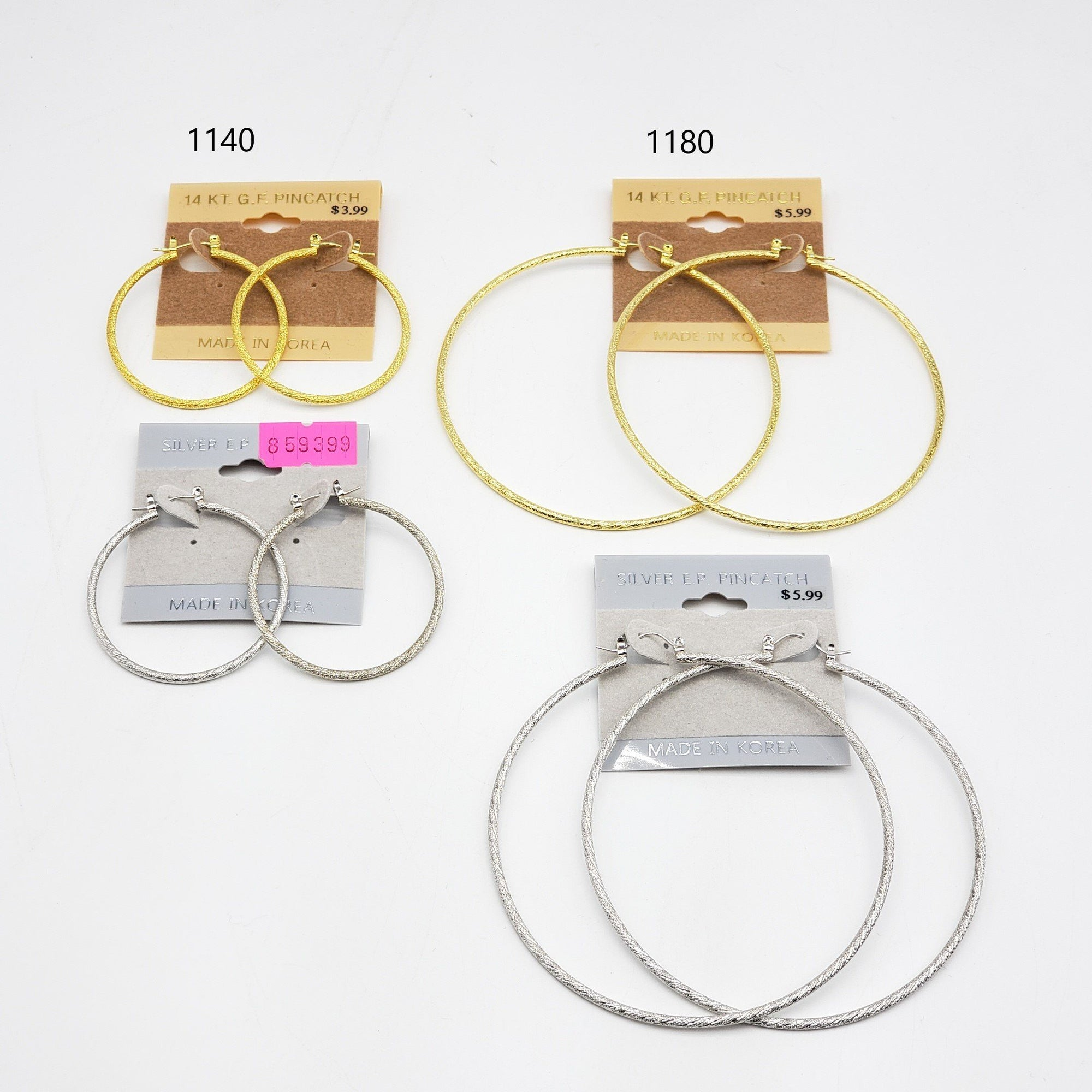 Gold/Silver Hoop Earrings #1140-1180 (PC)