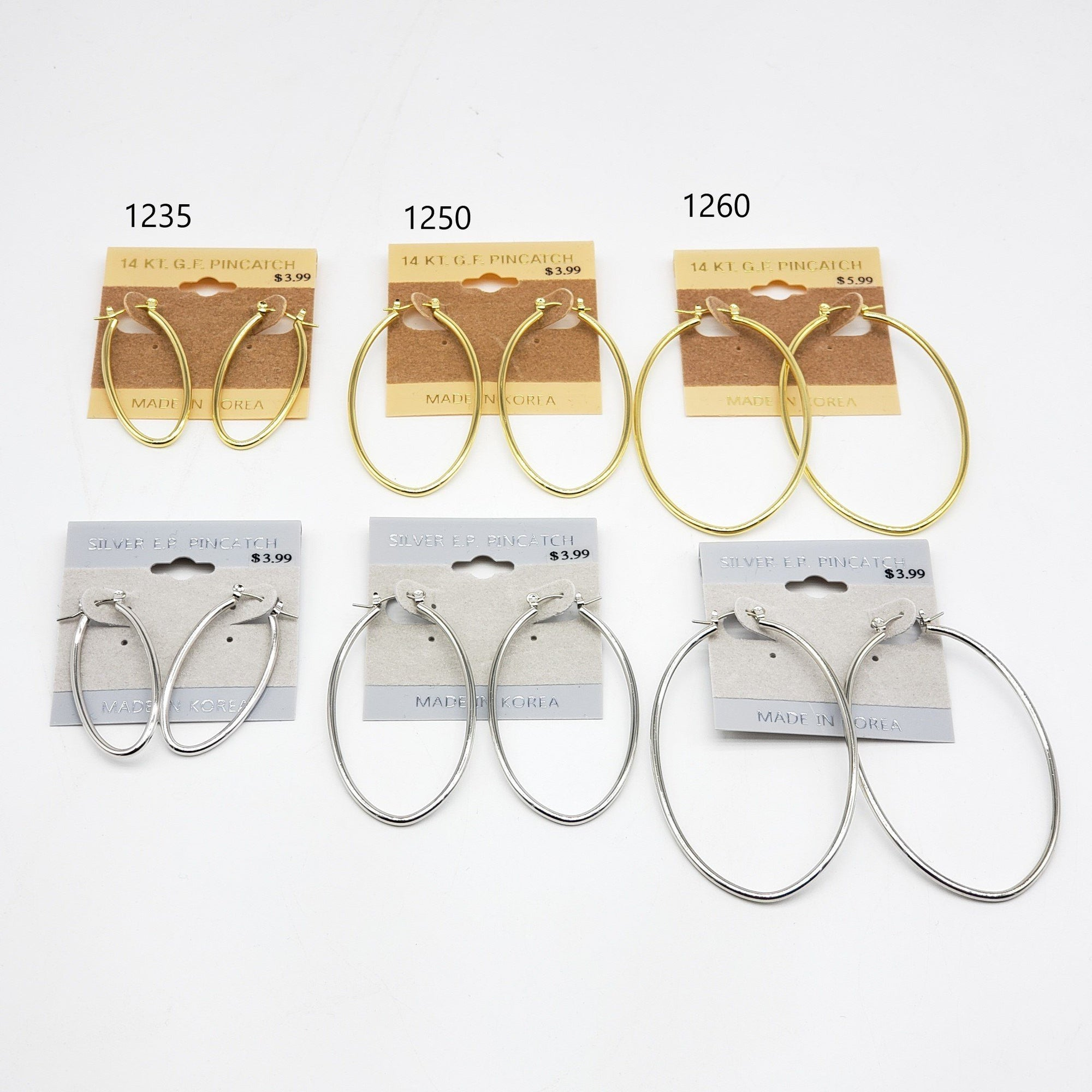 Gold/Silver Oval Hoop Earrings #1235-1250-1260 (PC)