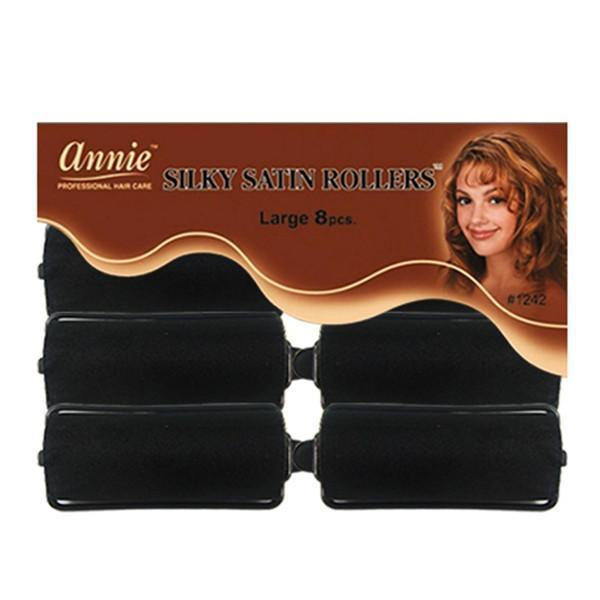 #1242 Annie Large Black Silky Satin Rollers (6Pk)