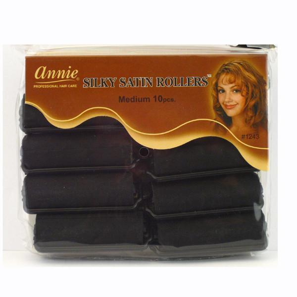 #1243 Annie Medium Black Silky Satin Rollers (6Pk)