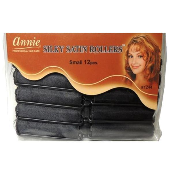 #1244 Annie Small Black Silky Satin Rollers (6Pk)