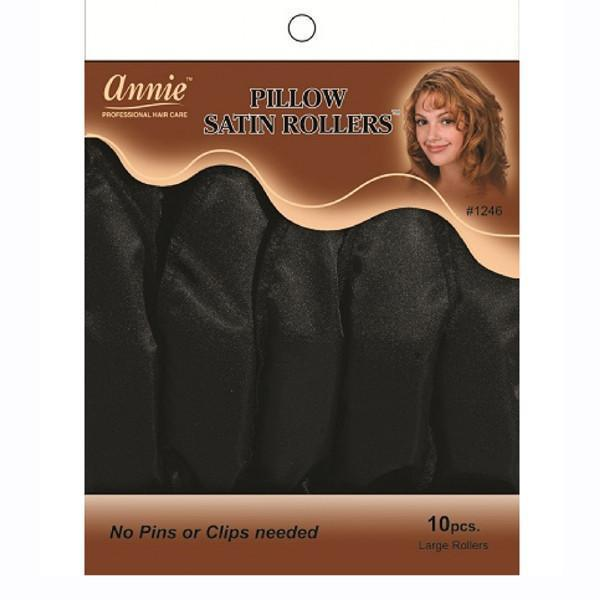 #1246 Annie Black Pillow Satin Rollers (6Pk)