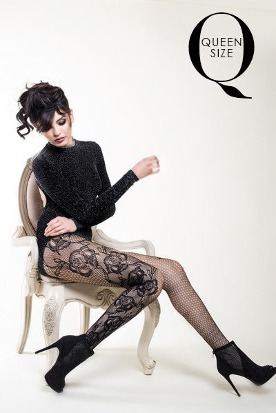 Yelete Etched Side Roses Lady's Fishnet Tights (PC) #168YD058Q