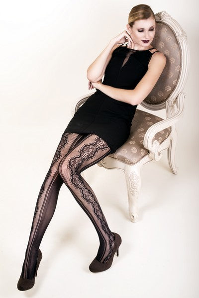 Yelete Lady's Stenciled Bouquet Fishnet Tights (PC) #168YD063