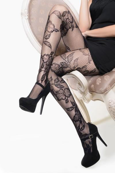 Yelete Lady's Lace & Roses Fishnet Pantyhose #168YD101 (PC)