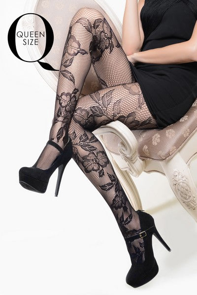 Yelete Lady's Lace & Roses Fishnet Pantyhose (PC) #168YD101Q