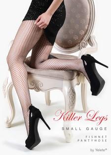Yelete Small Gauge Fishnet Pantyhose #168YD1502Q_BLK