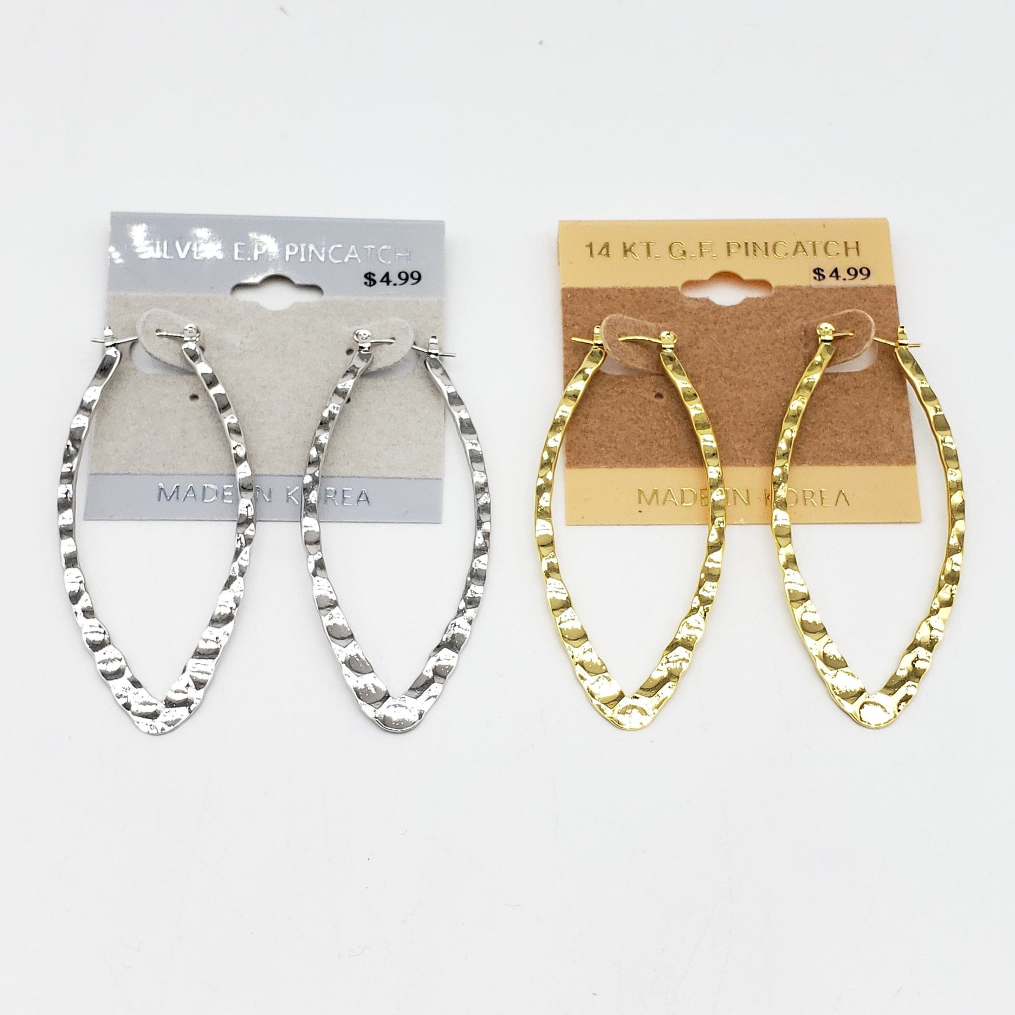 Gold/Silver Dented Oval Hoop Earrings #2060 (PC)