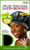 #22004 Large Treated Satin Bonnet / Black (Dz)