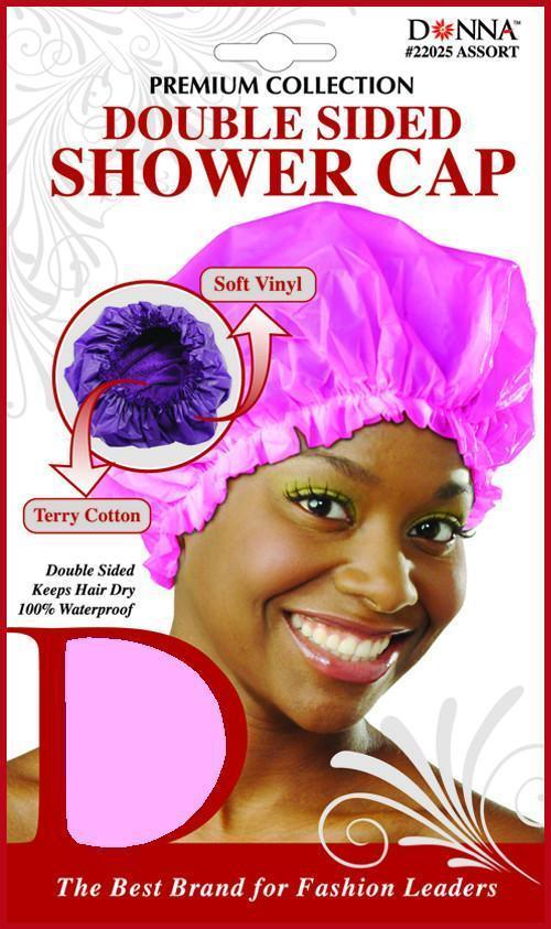 #22026 Black Double Sided Shower Cap / Black (Dz)