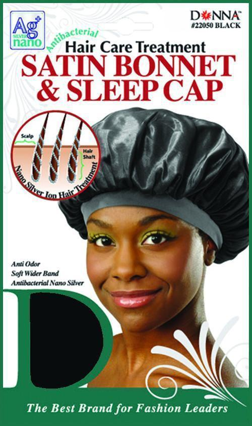 #22050 Satin Bonnet & Sleep Cap / Black (Dz)