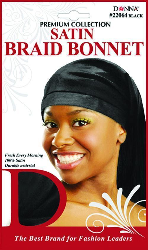 #22064 Satin Braid Bonnet / Black (Dz)