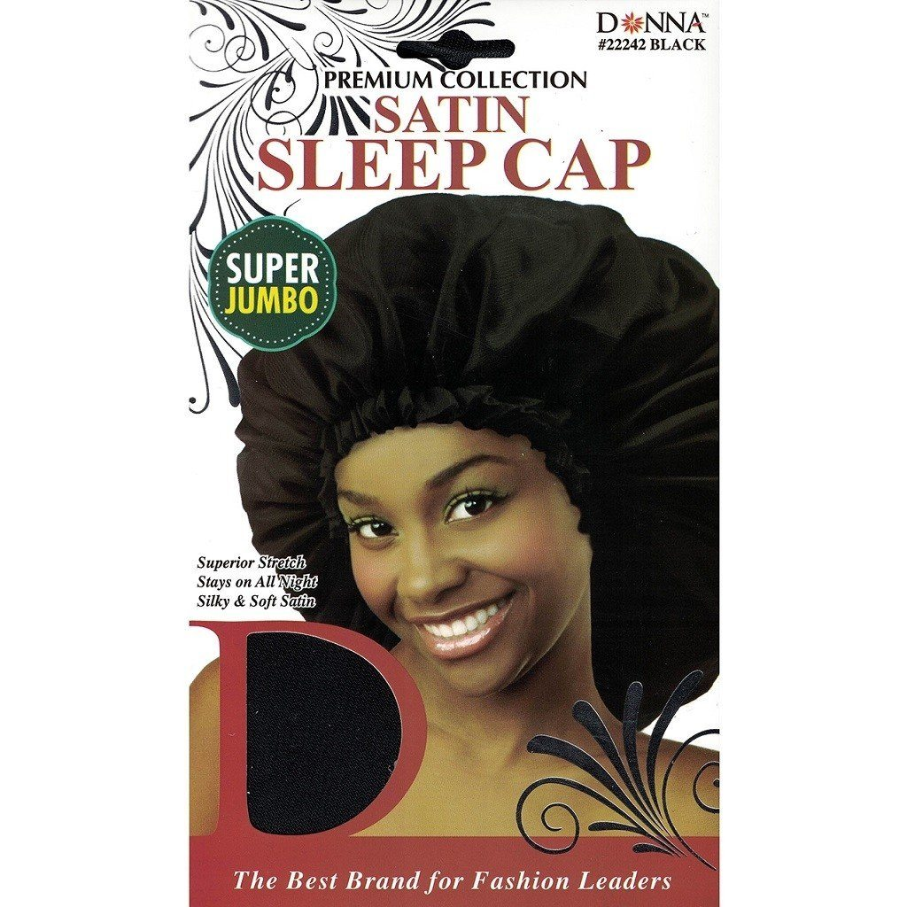 Donna Satin Sleep Cap Super Jumbo Black #22242 (12PC)